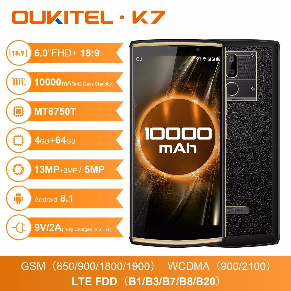 Original Oukitel K7 18:9 6.0 ''FHD 64 4 GB de RAM GB ROM smartphone android 8.1 Octa Núcleo 13MP MT6750T 10000 mAh 4G LTE Telefone Móvel