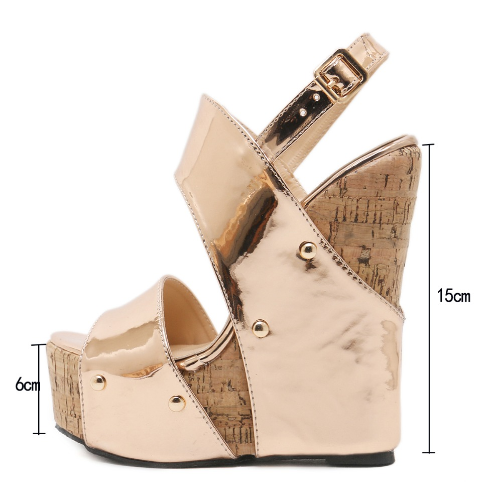 bbaddf5dde6f DiJiGirls Sexy Ultra Very High Heels 2018 Women Cork Wedge Platform Shoes  Gladiator Rome Sandals Ethnic Slingback Pump Champange-in High Heels from  Shoes on ...