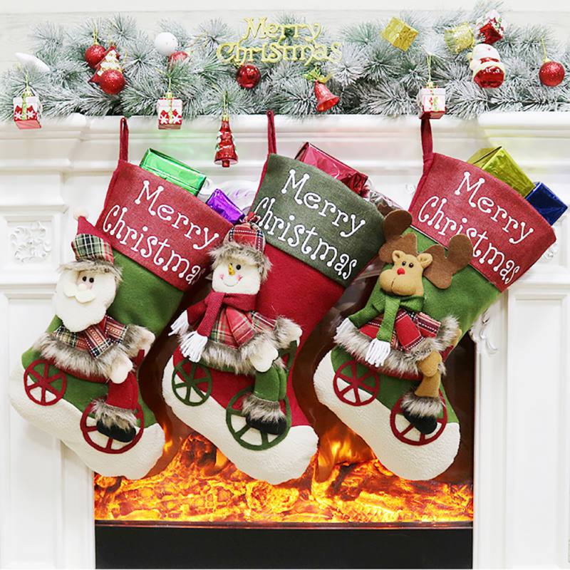 Christmas Stockings Pendant Cloth Small Boots Ornament Pattern Print Party Home Decoration Gift Bag
