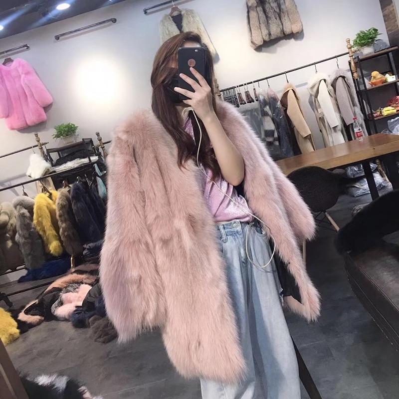 pink Blue Renard Longue Veste De Tops khaki Femmes Femme Coréenne Réel Vêtements 2018 Manteau Kawaii Hiver yellow gray Fourrure Rose H07nZSqp