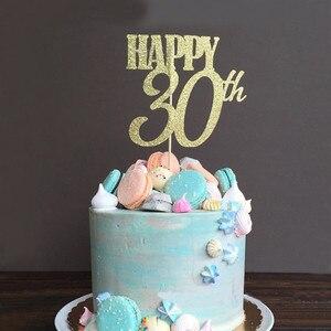 Image 4 - Chicinlife 30 ty temat balon na przyjęcie urodzinowe Cupcake Topper rekwizyty fotograficzne Banner słomy konfetti impreza dla dorosłych materiały dekoracyjne