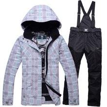 Winter woman ski jacket + pants outdoor climbing thick warm wind straps ski pants snowboard hoodie jacket free shipping