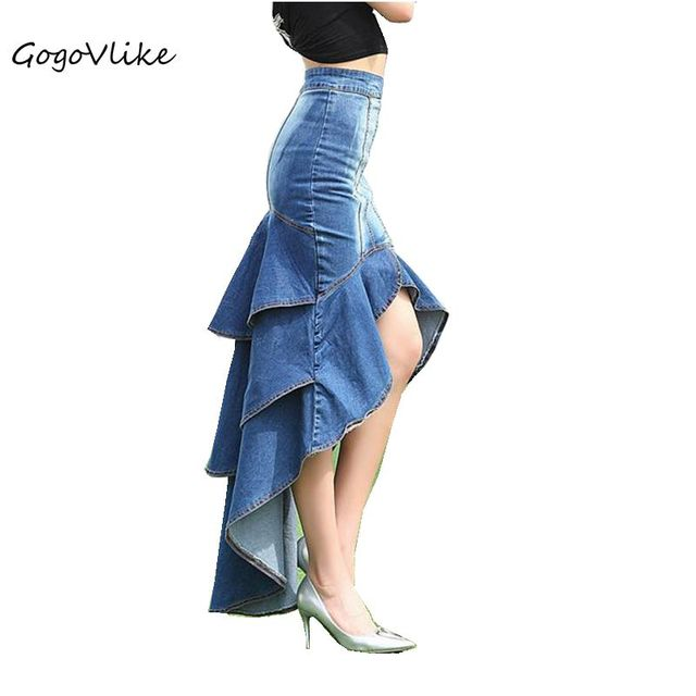 ca1f4c96b66 Jean saia sereia magro quadril romântico cintura alta rabo de peixe saia  azul denim para as