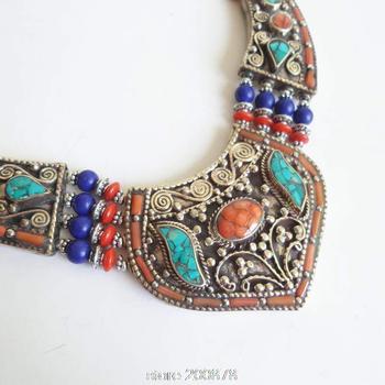 TNL149 Genuine Tibetan Hand Jewelry Tibet Stone Coral Big pendant BOHO Copper Necklaces Himalayan Tribal Amulet jewel