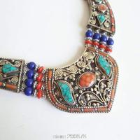 TNL149 Genuine Tibetan Hand Jewelry Tibet Stone Coral Big pendant BOHO Copper Necklaces Himalayan Tribal Amulet jewel