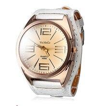 Бренд Womage Роскошные наручные часы повседневные и модные кварцевые часы с кожаными ремешками женские популярные дизайнерские часы