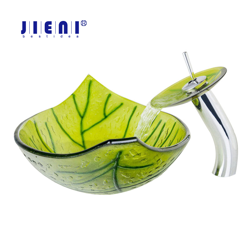 Bright green Leave Hand Paint Washbasin Tempered Glass Basin Sink Faucet WW-01