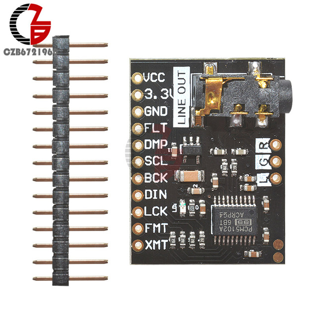 PCM5102A DAC I2S Interface Decoder Board 192KHz 24bit 3.5mm Stereo Jack Digital Audio Player Phat Format Module for Raspberry Pi