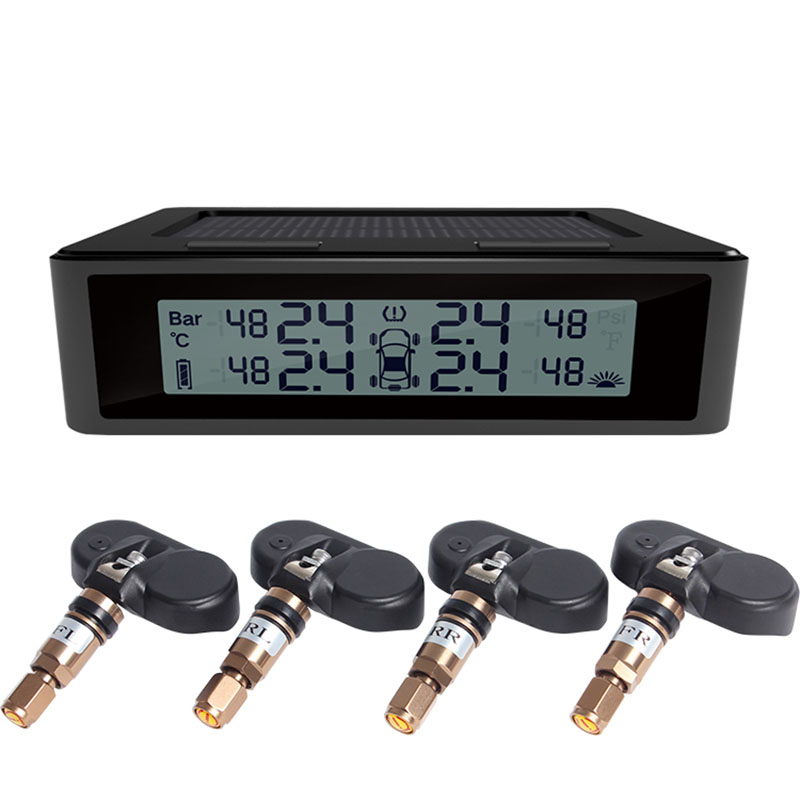 Zdatt Car TPMS Tire Pressure Monitoring System Solar Charging HD Digital LCD Display Auto Alarm System Wireless Interal Sensor tpms tp620 car tire tire pressure alarm car tire diagnostic tool support bar and psi tire pressure monitor car electronics