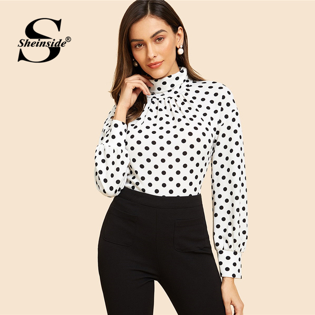 82fcc4768a2643 Sheinside Turtleneck Polka Dot Tee Long Sleeve T Shirt Women Tops 2018  Black And White Office