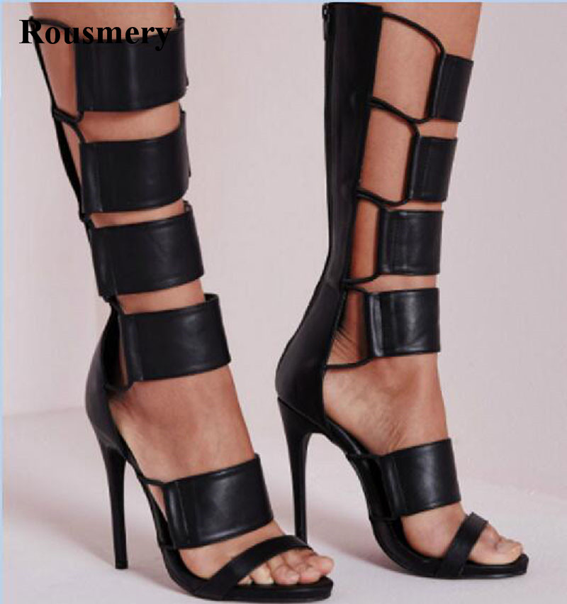 High Quality Women Fashion New Design Mid-calf Gladiator Boots Open Toe Cut-out Black High Heel Sandal Boots Free Shipping double buckle cross straps mid calf boots