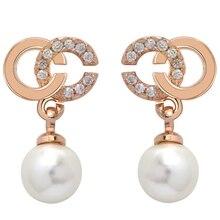 Трендовые серьги-гвоздики из розового золота с буквами C, модные сияющие хрустальные стразы, жемчужные серьги для женщин, вечерние ювелирные изделия, подарки