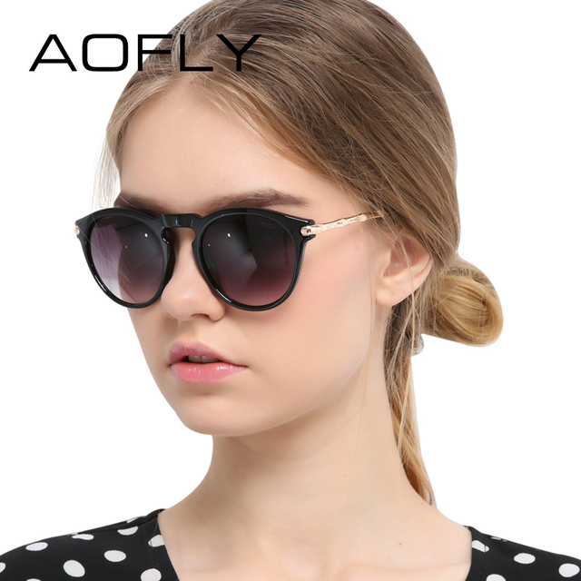 AOFLY Vintage Sunglasses Women Brand Designer Cat Eye Sun glasses Retro Gradient Vintage Eyewear Oval Lens UV400 oculos de sol