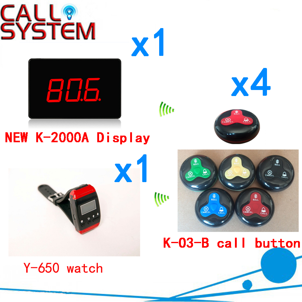 Wireless Restaurant Calling System 433.92MHZ Table Buzzer Bell Pager CE Passed( 1 display+1 watch+4 call button ) restaurant wireless table bell system 1 counter monitor 5 wrist watch pager 40 button 3 key call bill cancel