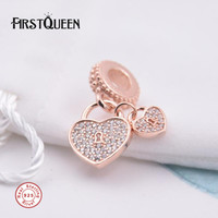 FirstQueen Love Locks Dangle Charm Rose Bead Fit Brand Silver Bracelet 2017 New Year Christmas Family