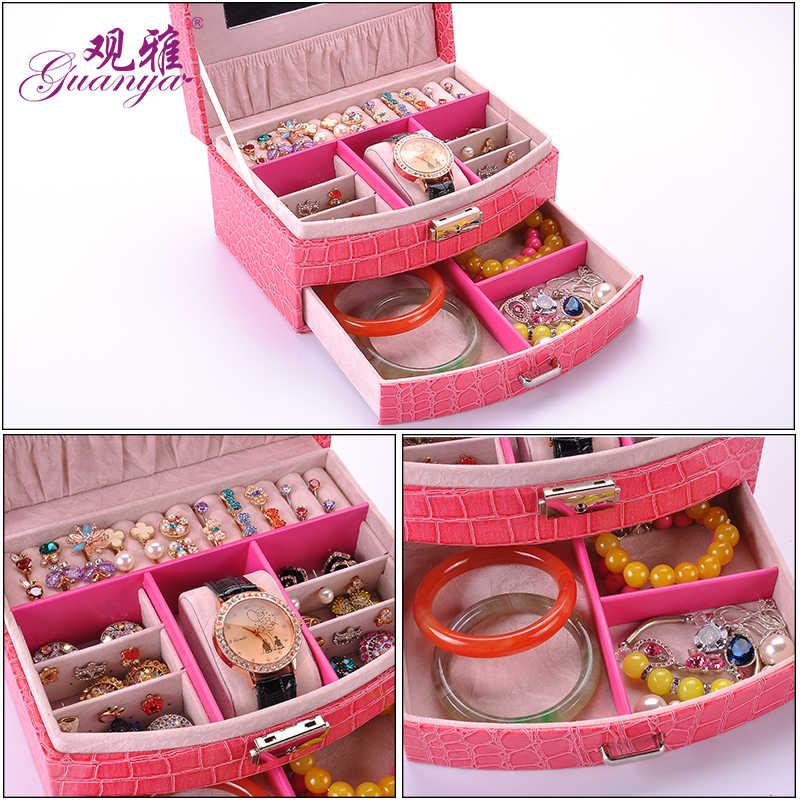 B 2 слоя мода ювелирные изделия дисплей хранения упаковки Дело Организатор Подарочные коробки 7 цветов из искусственной кожи часы шкатулка