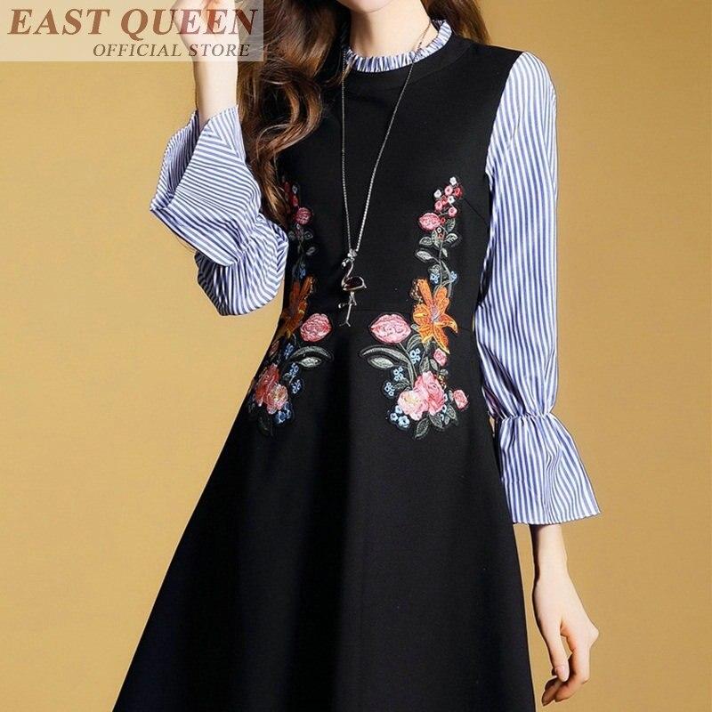 Été printemps 2018 robes décontracté sundress hors de l'épaule femmes rayé broderie papillon manches vestidos AA3593 a