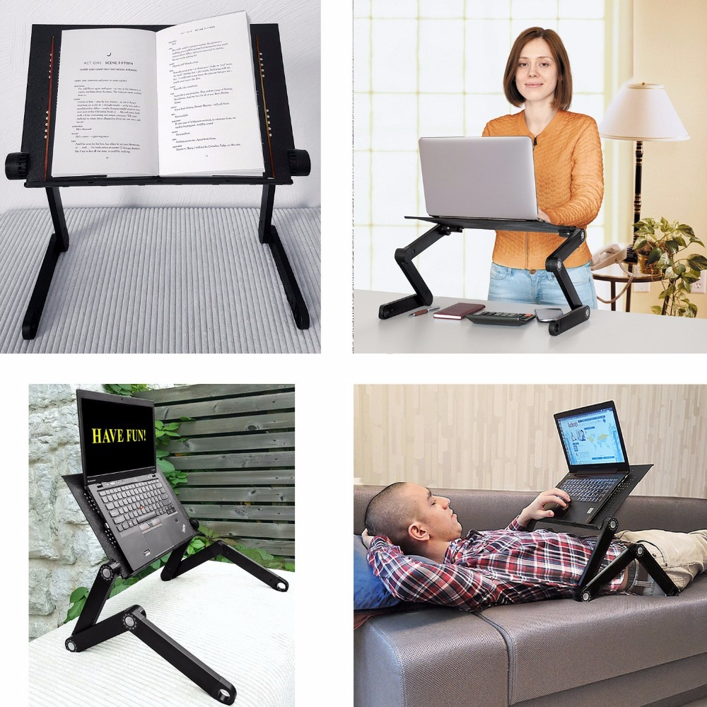 Quality Adjustable Worker Newton Ergonomic Laptop Table, Portable Standing Bed Desk Foldable Sofa Breakfast Tray Cooling Pad aluminum alloy adjustable laptop desk lapdesks computer table stand notebook with cooling fan mouse board for bed sofa tray