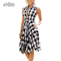 2018 Flared Plaid Leisure Vintage Dresses Office Ladies Robes Summer Women Casual Shirt Dress Irregular Knee