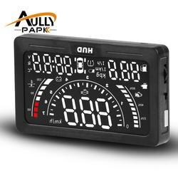 AULLY парк 5,6 дюймов HUD автомобилей Head Up Дисплей светодиодный ветрового стекла проектор OBD2 сканер Скорость Предупреждение расход топлива