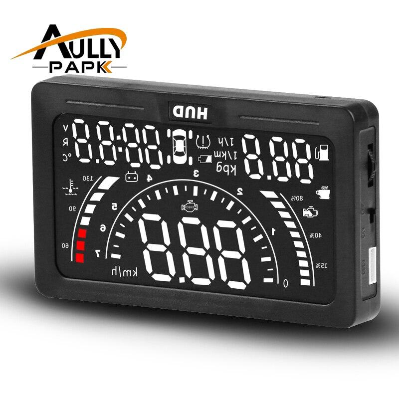 AULLY PARQUE 5.6 Polegada Cabeça Carro HUD Up Display LED Projetor Brisas OBD2 Aviso de Velocidade de Dados De Consumo De Combustível de Diagnóstico do Scanner