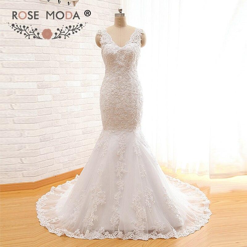 Rose Moda V Neck Mermaid Wedding Dress Sybil Low V Back Alencon Lace Wedding Dresses Real Photos