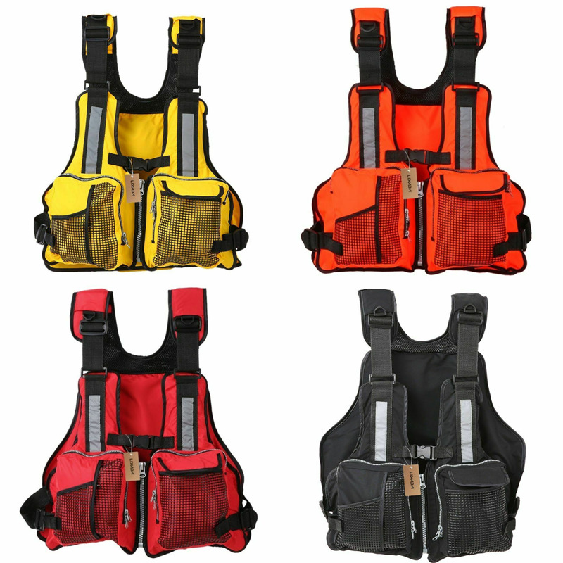 Hot Adult Life Jacket Solid Men Women Adjustable Waterproof Buoyancy Aid Nylon Fishing Vests Sailing Fishing Kayak Life Vest
