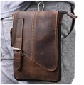 Hot Sale Top Quality Genuine Real Leather men vintage Brown Small Crossbody Belt Bag Waist Pack Bag 611-1