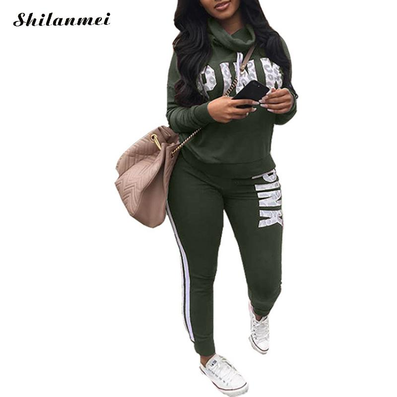 New 2018 Two Piece Set Sportswear Tracksuit Women Autumn Winter High Neck Conjunto Feminino Plus Size Sweatshirt Set Women Suit