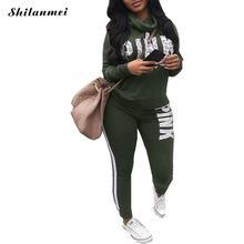 New 2018 Two Piece Set Sportswear Tracksuit Women Autumn Winter High Neck Conjunto Feminino Plus Size Sweatshirt Suit