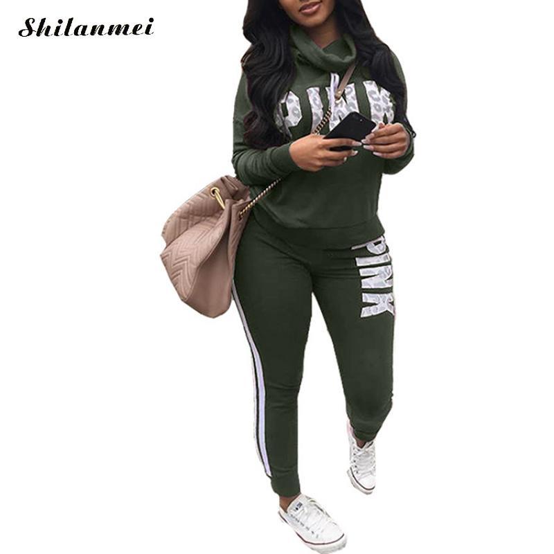 Novo 2018 Two Piece Set Sportswear Treino Mulheres Outono Inverno Gola Alta Conjunto Feminino Plus Size Camisola Conjunto Mulheres Terno