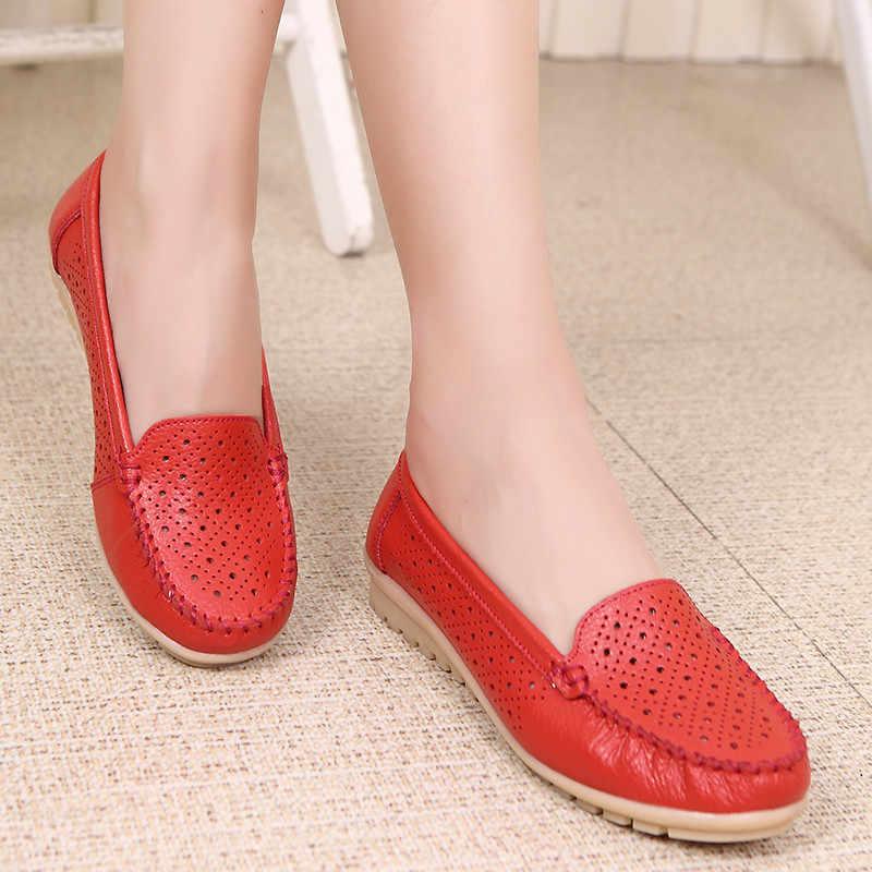 MEMUNIA 2019 yeni büyük boy mokasen kadın rahat ayakkabılar gerçek deri ayakkabı kadın rahat eğlence kadın düz ayakkabı damla gemi