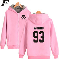 LUCKYFRIDAYF MONSTA X K pop Harajuku Hoodies Women Thicker Winter Coats Popular Hip Hop Sweatshirt Women Female Zipper Clothes