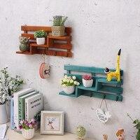 クリエイティブ 3 層木製の壁マウント棚ラック収納オーガナイザーラックと 3 フック