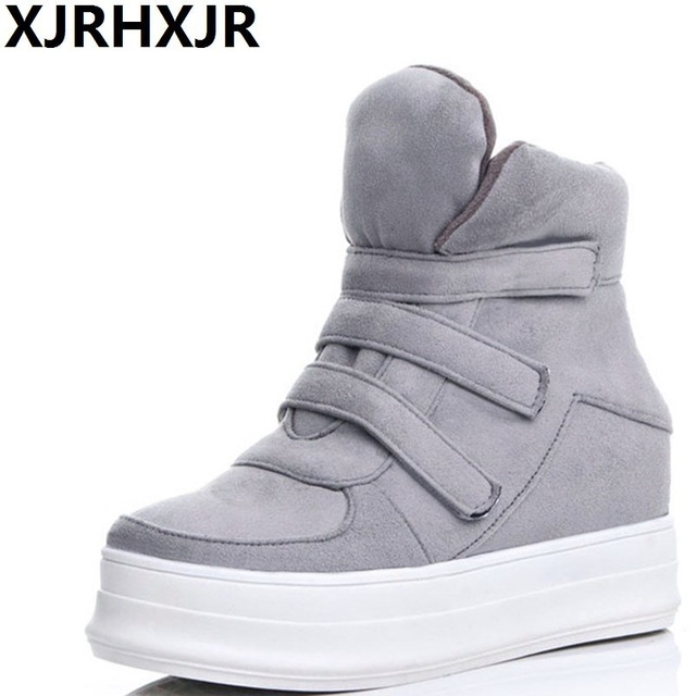 6b7e8d7613ae Autumn and Winter New Thick Bottom Casual Shoes Women Height Increase  High-top Shoes Cashmere Warm Cotton Shoes Ankle Boots