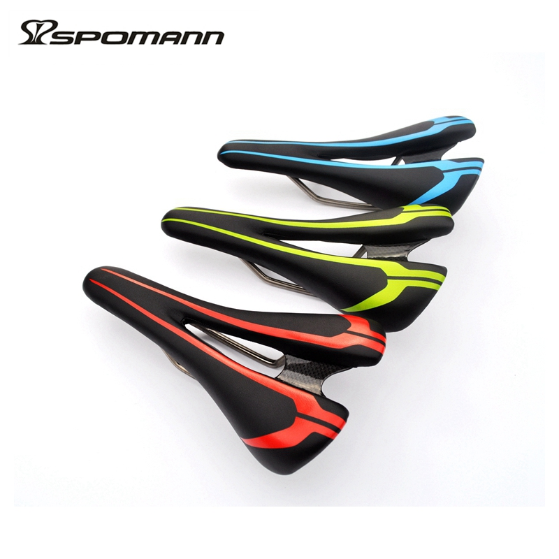 Newest design carbon fiber saddle leather soft mtb road bike seat cushion Titanium arch finish bicycle parts free shipping lightweight full fiber road mountain bike titanium arch bicycle sillin mtb pu leather cushion front seat carbon saddle selim