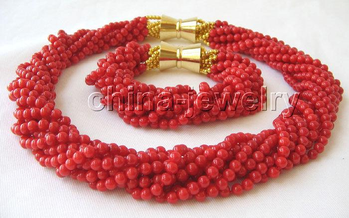 P2916-Beautiful AAA 18 10row 5mm natural red coral necklace & bracelet>>>  Free shippingP2916-Beautiful AAA 18 10row 5mm natural red coral necklace & bracelet>>>  Free shipping