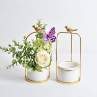 2019Fleshy Flower Pot Bird Round Frame Ceramic Flower Desktop Decorative Flower Hanging|Flower Pots & Planters|Home & Garden -