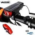 Водонепроницаемая передняя фара для велосипеда  солнечная энергия  велосипедный фонарь с колокольчиком  5 режимов  USB перезаряжаемая Встрое...