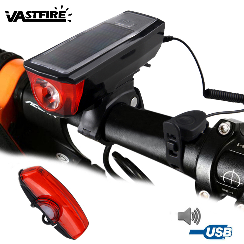 Waterproof Front Bike Headlight Solar Power Bicycle Light With Bell 5 Modes USB Rechargeable Built-in Battery Cycling Lamp