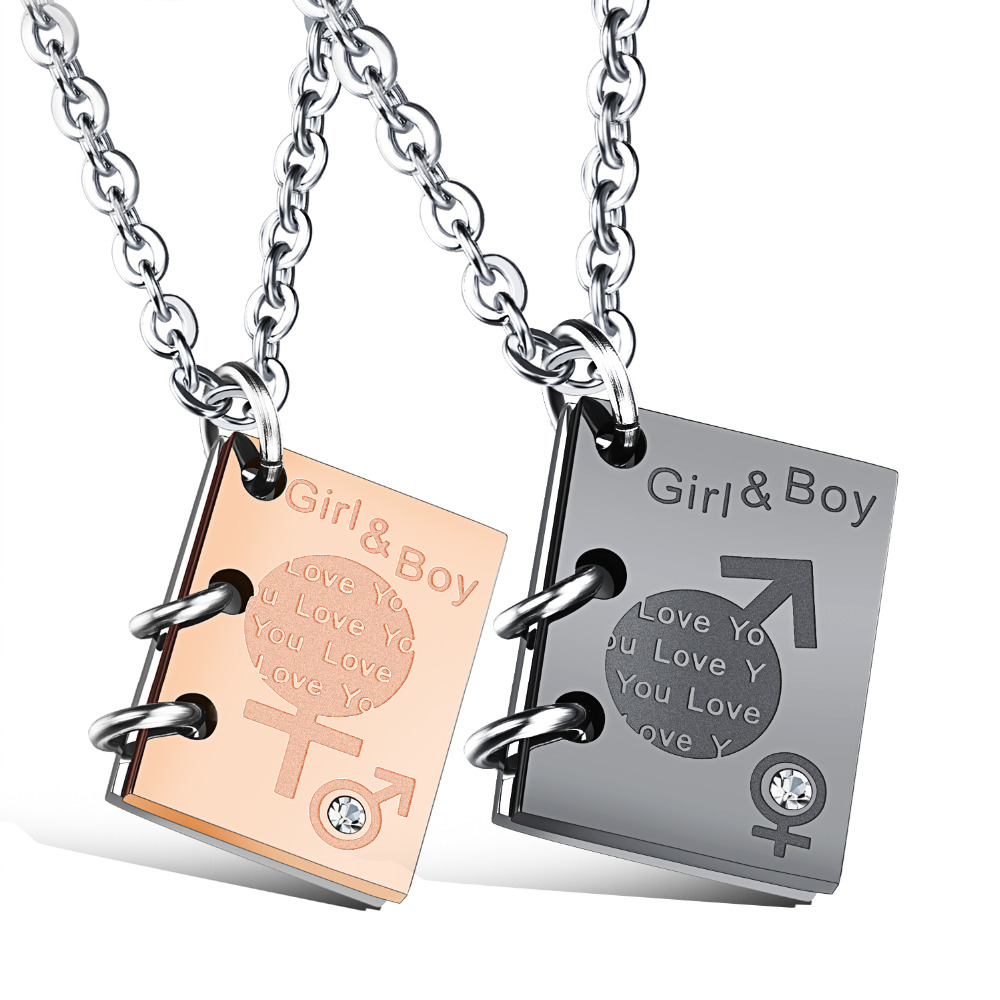 Copper I Love You Jesus Cross Lovers Pendant Couples Puzzle Necklace Set Gift
