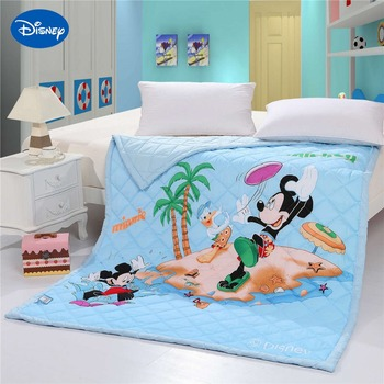 Disney Cartoon Mickey Mouse Beach Shell Sea Quilt Comforter Bedding Cotton Cover 150*200cm Size Soft Summer Boy's Baby Home Blue