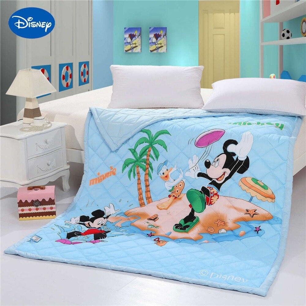 Disney Cartoon Mickey Mouse plage Shell mer couette couette literie coton couverture 150*200cm taille doux été garçon bébé maison bleu