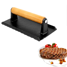Cast Iron Metal Beef Lamb Press Barbecue Tools Wooden Handle Cooking Tool Meat Press BBQ Kitchen Tool cooking in cast iron