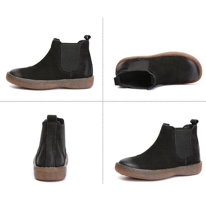 Zapatos Mujeres Zxryxgs khaki Otoño 2018 Grueso Zapatillas Casuales Lleno Genuino Las Fondo Nuevo Marca Botas Botines Negro Del Cuero De qnqxwfp1X8