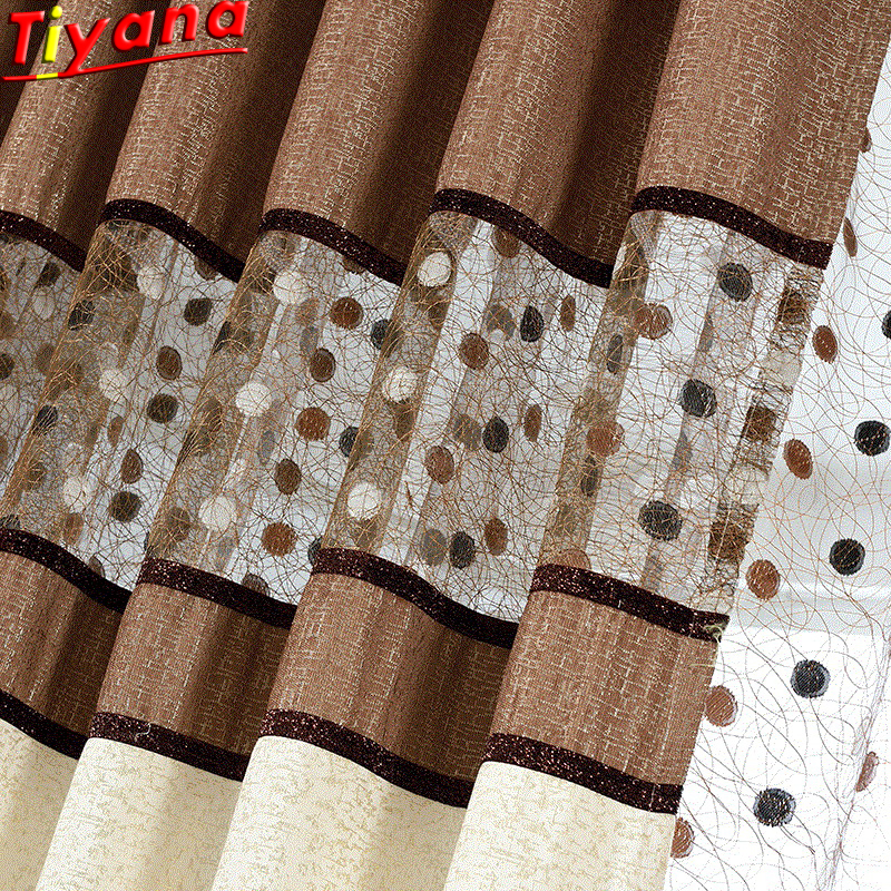 Chenille Embroidered Luxury Nest Curtains Fabric Brown and Grey Curtain For Bedroom Living Room Curtains Panel Finished WP221#30