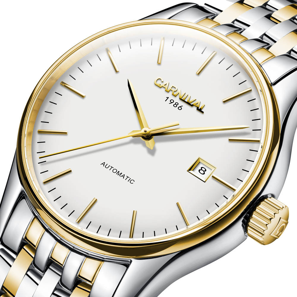 Automatic Self-Wind Men Business Casual Simple Watches Sapphire mirror Stainless steel strap 2017 New Clock Mechanical calendar