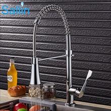 В розницу Продвижение Весна Pull Подпушки Chrome кухонный кран водопроводный кран латунный кухня смеситель спрей душем смеситель для кухни