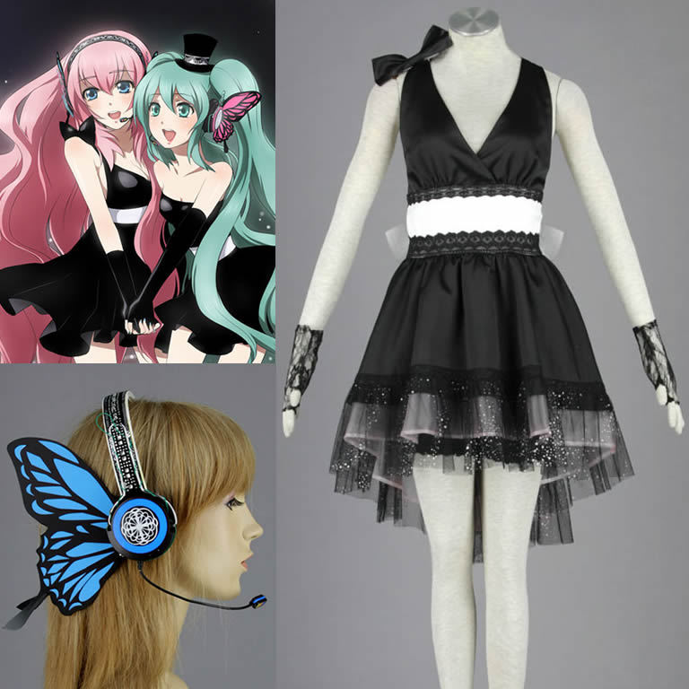VOCALOID Megurine Luka cos Dress magnet Cosplay Costume with headset Рубашка