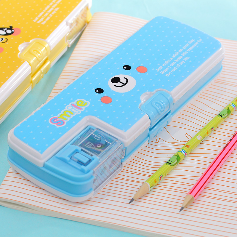 Cute character plastic stationery box Pencil sharpener double multifunctional pencil case pencil Korea creative stationery 3 pieces korea stationery fresh